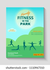 Family fitness in the park ad, poster or flyer template with people doing yoga, running and playing with ball. Summer recreation and health lifestyle fitness concept.