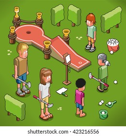 Family of five playing outdoor mini golf (isometric view)