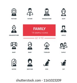 Family - flat design style icons set. High quality black solid pictograms on white background. Mother, father, grandmother, grandfather, aunt, uncle, baby, toddler, sister, brother, dog, cat