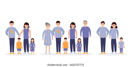 Family flat icons set. Illustration with parents and children isolated on white background. Wife, husband, mother, father, son, daughter, grandfather, grandmother, sister, brother
