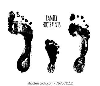 Family footprints vector illustration. Watercolor family footprints of mom, dad, and child. Social illustration.