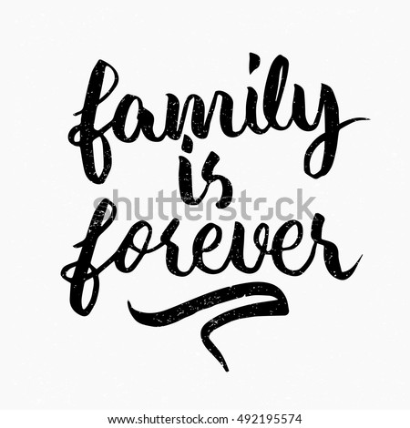 family forever quote ink hand lettering stock vector royalty free