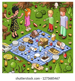 Family of four about to picnic while ants are stealing their food from a blanket (isometric cartoon)