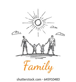 A family of four. Clouds fly against the background. Vector concept illustration. Hand drawn sketch. Lettering family.