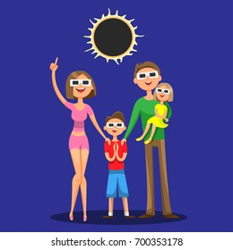 Family of four, mother, father, son and daughter are watching the solar eclipse using protective sun glasses