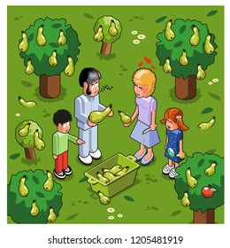 Family of four plucking pears in a fruit tree garden (vector illustration)