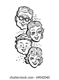 Family Of Four - Retro Clipart Illustration