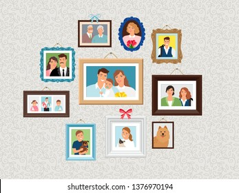 Family frames set. People portrait pictures, faces photoportraits on wall with kids and dog, wife and grandparents vector illustration