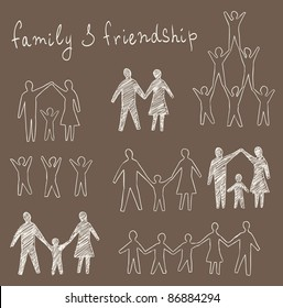 family and friendship symbols vector set