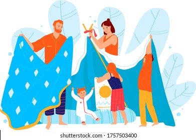 Family fun spend time, parent build plaything tent from blanket isolated on white, cartoon vector illustration. Father mother cheerfully entertain small children, concept big household play.