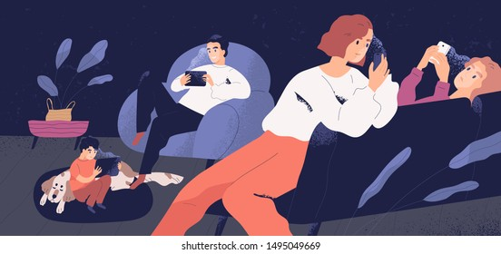 Family gadget addiction problem concept flat vector illustration. People holding smartphones and tablets. Adults and children social media networks users. Parents and kids surfing Internet at home.