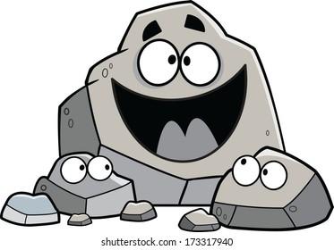 Family gathering of cartoon vector rocks.