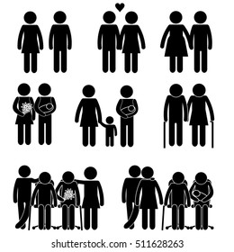 Family Generations Bonding. Different Stages of Life. Stick Figure Pictogram Icon Vector Set