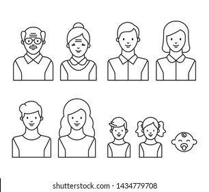 Family generations: grandfather, grandmother, father, mother, kids. People of different ages outline style