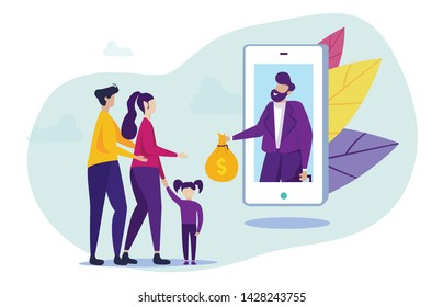 Family Get Loan Using Mobile Application. Vector Illustration. Buying House on Credit. Favorable Conditions for Lending. Broker and Client Smartphone Screen. Mobile App. Online Communication with Bank