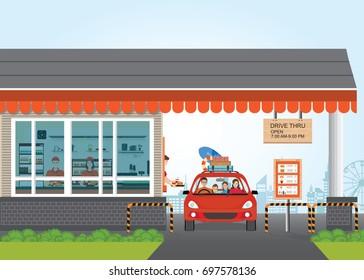Family Getting Food at a Drive Thru Restaurant, flat design vector illustration.