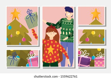 family with gifts trees decoration merry christmas, happy new year cards vector illustration
