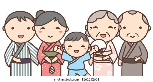 Family go summer festival together. They wear Japanese traditional Yukata. Yukata is Japanese summer kimono.