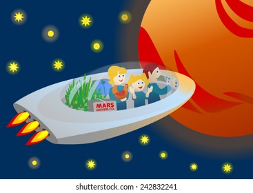 Family going to Mars in a spaceship
