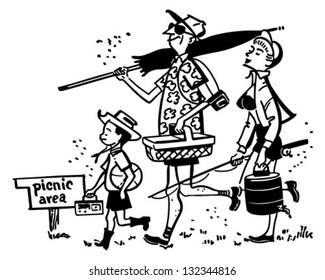 Family Going On A Picnic - Retro Clip Art Illustration