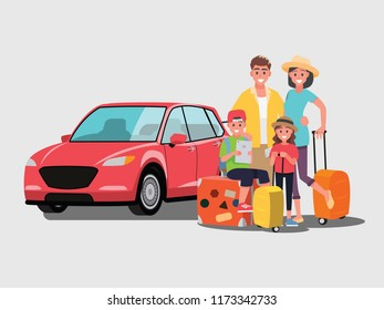 The family is going to travel by car,Vector illustration cartoon character flat style.