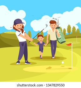 Family Golf Lesson. Young Family of Mother, Father and Little Son on Playing Course Outdoor, Dad Holding Child Boy by Hand and Instructing while Walking. Mom Hit Ball. Cartoon Flat Vector Illustration