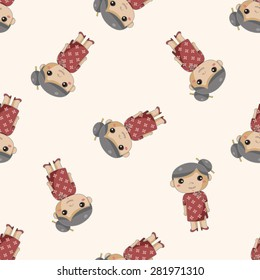 family grandmother character , cartoon seamless pattern background
