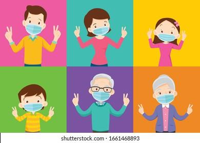 famille et grand-parent portant un masque médical de protection sur fond coloré famille portant un masque médical de protection contre le virus Covid 19