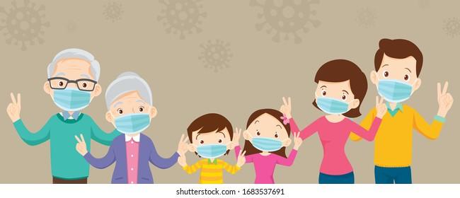 famille et grand-parent portant un masque médical protecteur pour coronavirus, Covid-19, Wuhan et montrer la victoire, famille portant un masque médical protecteur pour prévenir le virus Covid 19 et la main de victoire.