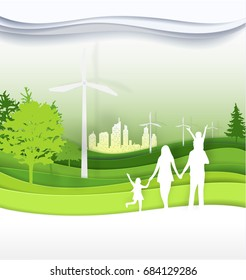 family in the green city for  life.The eco-friendly city vector paper art illustration paper cut