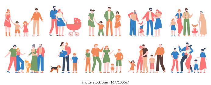 Family groups. Love family portraits, traditional families, mother, father, happy kids, different generations characters vector illustration set. Happy mother father together, portrait collection