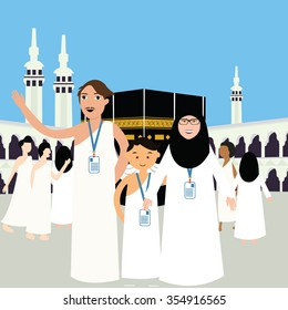 family haj hajj pilgrim man father mother woman kids wearing islam hijab ihram clothes vector illustration mecca ka'ba kabba kaba umrah