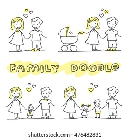 Family hand drawn stick figures on white background. Modern hand drawn vector illustration. Layered EPS file