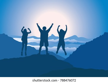 Family with hands up jumping and having fun on the top of mountain. Vector illustration. Blue Ridge Mountains, North Carolina, USA.