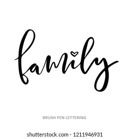 Family - handwritten lettering word. Black vector text at white background