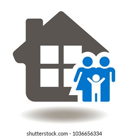 Family Happy House Icon Vector. Building Appartment, Construction Home People Illustration. Real Estate Service Logo. Property Agency Symbol.