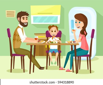 Family have a lunch. Father, mother and son sitting in the kitchen and having a meal together. vector illustration in cartoon style