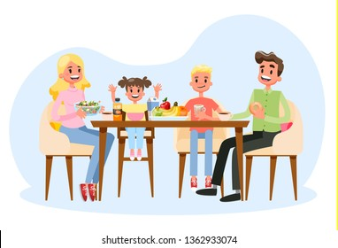 Family having breakfast at the kitchen table. Happy parents and children eat together. Father and mom, son and daughter on the lunch or dinner. Vector illustration in cartoon style