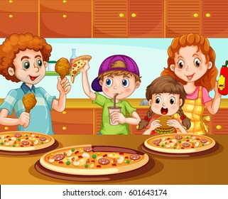 Family having pizza in kitchen illustration