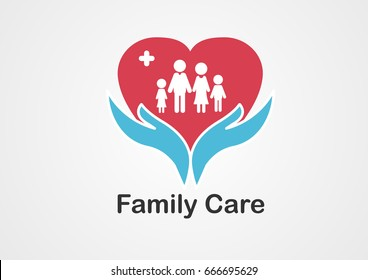 Family health care logo include blue hands and red heart with white family father mother and kids,concept for health service and business.