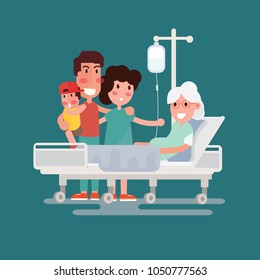 Family health care and people concept - happy senior man and young woman visiting and cheering her grandmother lying in bed at hospital ward