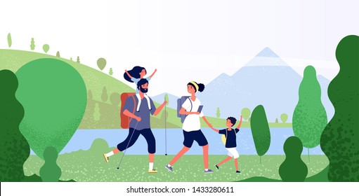 Family hiking nature. Man, woman and kids in outdoor mountain landscape. Holiday summer adventure in camping vector background. Illustration of family people travel, tourism and hiking