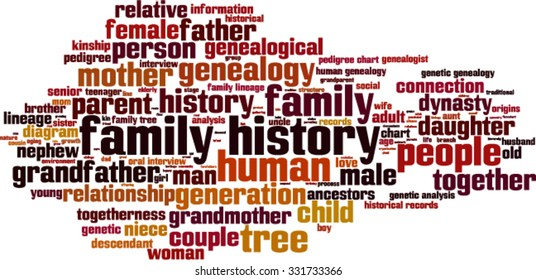 Family history word cloud concept. Vector illustration
