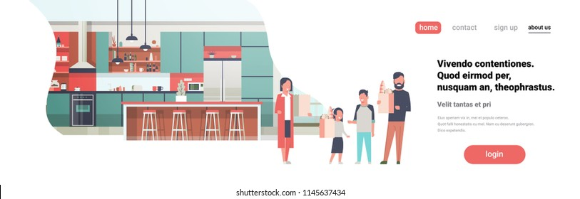family holding bags with grocery products kitchen room interior flat horizontal banner full length copy space vector illustration