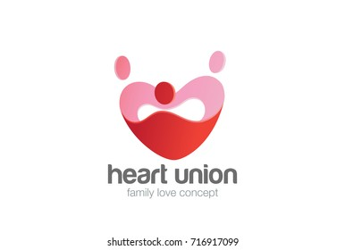 Family holding hands Love Heart Logo design vector template. Valentines day Logotype concept icon.