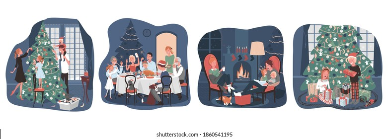 Family holiday at home. Decorating a Christmas tree, a Christmas family dinner, an evening with the family by the fireplaces, opening Christmas gifts. Vector, cartoon illustration.