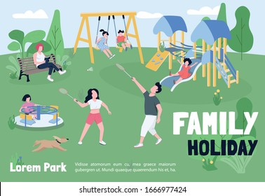 Family holiday in park banner flat vector template. Brochure, poster concept design with cartoon characters. Outdoor recreation, kids playground horizontal flyer, leaflet with place for text
