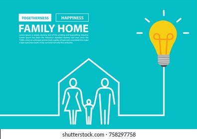 Family home concept, with creative light bulb idea vector illustration modern design template
