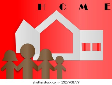 Family home concept with paper cut style vector background