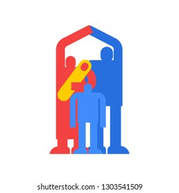 Family home icon symbol. household residence. Dad, mom and baby at house sign.